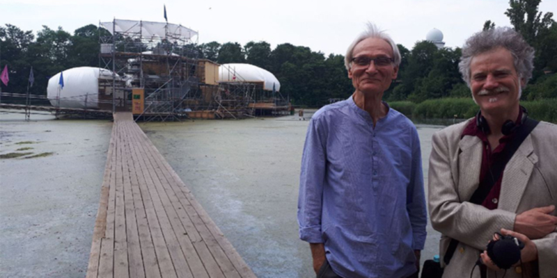 Peter Anderschitz und Gerhard Richter vor der Floating University